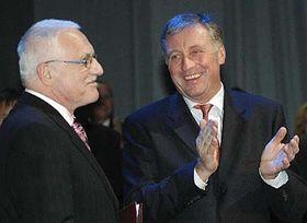 Prezident Václav Klaus (vlevo) apředseda ODS Mirek Topolánek, foto: ČTK