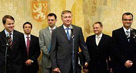 Předsedové lidovců, zelených aODS před společným jednáním, foto: ČTK