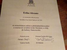Le prix Karel Čapek pour Erika Abrams, photo: Václav Richter