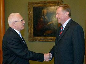 President Vaclav Klaus and Mirek Topolanek, photo: CTK