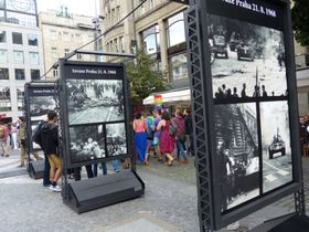 Photo exhibition at Wenceslas Square, photo: Klára Stejskalová