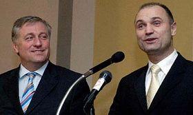 Premiér Mirek Topolánek aministr vnitra Ivan Langer (vpravo), foto: ČTK