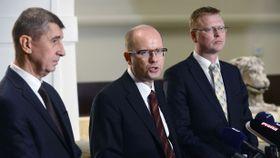 Andrej Babiš, Bohuslav Sobotka, Pavel Bělobrádek, photo: ČT24