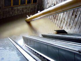 Florenc metro station during floods 2002