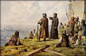 """Йозеф Матхаузер """"Ян Жижка с князем Вацлавом Корандой в 1420 году озирают Прагу с холма Витков"""", фото: Wikimedia Commons, Public domain"""