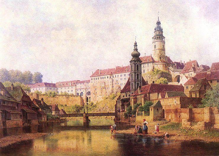 Чешский Крумлов, рисунок Бедржиха Гавранека (1821–1899)