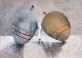 """Der Poster zur Ausstellung """"Hommage an den Landvermesser K."""" von Rut Kohn / Galerie Salon Topič"""