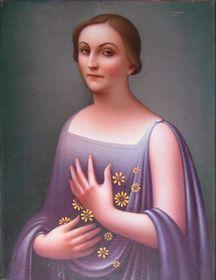 Portrét dámy ve fialových šatech od Jana Zrzavého, foto: archiv Antikvity Art Auction
