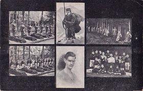 Pohlednice s motivy rumburské vzpoury a portrétem Stanka Vodičky