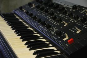 Newly acquired Soviet analog synthesizer Polyvox is together with Korg MS20 occupying Faust Lab. Mixing well with other vintage synthesizers ARP, Korg, Juno and co, photo: archive of Studio Faust Records