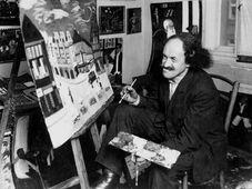 Robert Guttmann painting in his room, photograph, ca. 1925, photo: © Jewish Museum in Prague