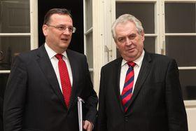 Petr Nečas y Miloš Zeman, foto: ČTK