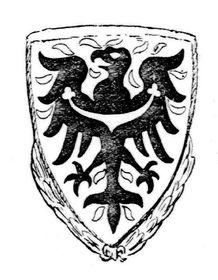 Grafický návrh Čestného štítu protektorátu Čechy aMorava sorlicí sv. Václava, foto: Deutsche Uniformen Zeitschrift, CC BY-SA 3.0