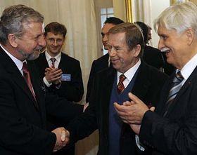Alexander Milinkevitch, Václav Havel, Jiří Dienstbier, photo: CTK