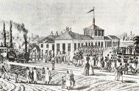 Le premier train à vapeur à Břeclav en 1839