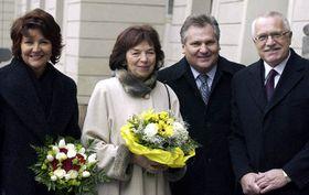 De izquierda: Jolanta Kwasniewski, Livia Klausová, Václav Klaus y Alexander Kwasniewski (Foto: CTK)
