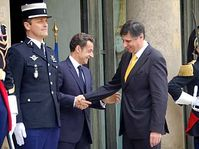 Nicolas Sarkozy et Jan Fischer, photo: CTK