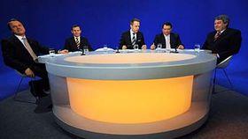 Zleva: Martin Bursík, Jiří Čunek, moderátor Václav Moravec, Jiří Paroubek aVojtěch Filip, foto: ČTK