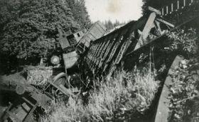 Most zničený partyzány na klíčové trati mezi Brnem aJihlavou, foto: archiv Národního muzea, CC BY 4.0