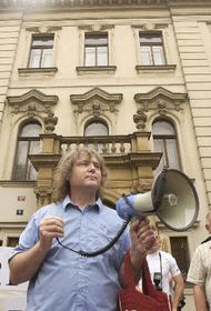 Петр Цибулка на демонстрации (Фото: ЧТК)