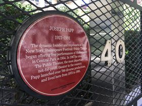 Plaque to Joseph Papp in New York, photo: Ian Willoughby