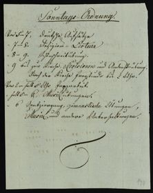 Plan für den Sonntagsunterricht (Foto: Archiv des Museums in Nový Jičín)