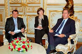 Jiří Paroubek spředsedou francouzského Národního shromáždění Jeanem-Louisem Debrém (vpravo), foto: ČTK