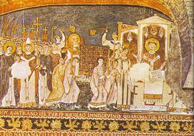Cirilo y Metodio con las reliquias de San Clemente en Roma