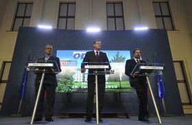 Karel Schwarzenberg, Petr Nečas, Radek John, photo: CTK