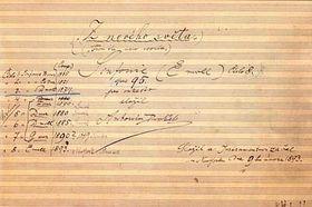El manuscrito de la Sinfonía del Nuevo Mundo de Dvořák
