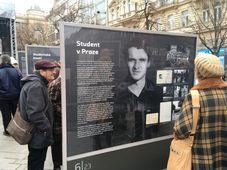 Ausstellung in der Nähe des Wenzelsdenkmals über Jan Palach (Foto: Ian Willoughby)