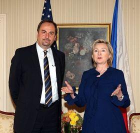 Jan Kohout aHillary Clintonová, foto: ČTK