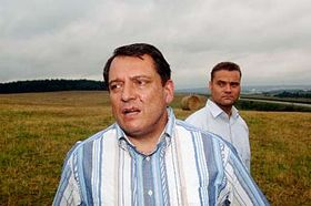 Prime minister Jiri Paroubek at a location where the techno music festival took place, photo: CTK