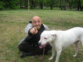 Jiri X. Dolezal with his signature dog Kacenka, photo: Jan Richter