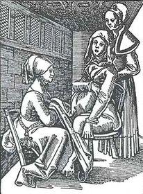 Porodní bába při porodu, E. Roesslin, 1577 (ze sbírek Zdravotnického muzea)