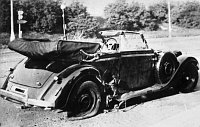 Protector Heydrich's car after the assassination, photo: Bundesarchiv, Bild 146-1972-039-44 / CC-BY-SA / Wikimedia Commons 3.0