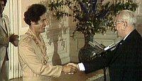 Mouammar Kadhafi (à gauche) avec le président tchécolsovaque Husák en 1978, photo : ČT