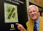 Ludvik Pytlicek and the rarest Czech stamp, photo: CTK
