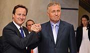 David Cameron et Mirek Topolánek, photo: CTK