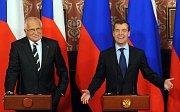 Václav Klaus, Dmitry Medvedev (right), photo: CTK