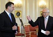 Petr Nečas y Václav Klaus, foto: ČTK