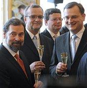 Radek John, Miroslav Kalousek, Alexandr Vondra und Petr Nečas (Foto: ČTK)