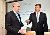 Bohuslav Sobotka and Valdis Dombrovskis, photo: ČTK