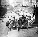 Trams on Wenceslas Square in 1963, photo: CTK