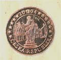 Euro coin with the town of Telc