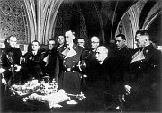 Heydrich and Hacha stand before the Bohemian Crown