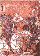 Combate de los husitas contra los cruzados (Cáliz de los husitas a la izquierda arriba)