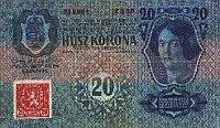 Zwanzig Kronen (1919-1920) mit einer Stempelmarke