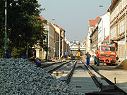 Bauarbeiten nach der Hochwasserkatastrophe von 2002