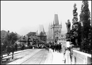 Electric tram on Charles Bridge, 1905 - 1908